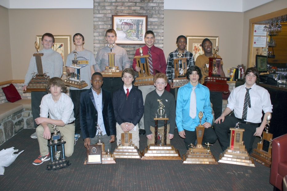 2014 Bell Warriors Pee Wee Award Winners L to R: Front Row:  Outstanding Offensive Back – Andrew Fullerton; Rookie of the Year – Niklas Sua; Outstanding Offensive Player - James Keenan; Most Versatile Player – Joshua Streng; Outstanding Defensive Player – Tyler Brohman; Best O-Lineman / Warrior Award – Zachary Statham-Souliere Back Row:  Best D-Lineman – Waylon Allen; Coaches Award – Eric Conley; Most Improved Player – Matt Chapeski; Best Linebacker  - Steven Schwartz; Outstanding Defensive Back – Demar Welsh; Most Valuable Player – Sam Roberts