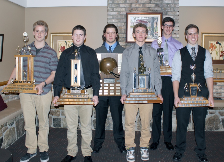 2014 Bell Warriors Bantam Award Winners: L to R: Most Improved Player – Brad Cowan; Best Offensive Lineman – Liam Cochrane; Coaches Choice – Kurtis Schaefer; Outstanding Offensive Player – Dilan Parry; Most Versatile Player – Jack Rabb; Most Valuable Player – Quinn Stewart Missing from the Picture:  Outstanding Defensive Player – Andrew Beattie; Rookie of the Year – Craig Dawe; Best Defensive Lineman – Sam Dulmage; Best Defensive Back - Tremayne Rockburn.