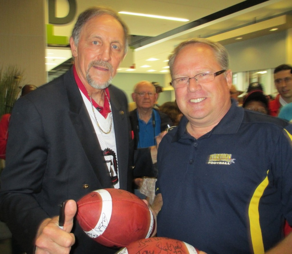 President Paul Stewart with CFL Hall of Famer and Ottawa Rough Rider great Tony Gabriel.