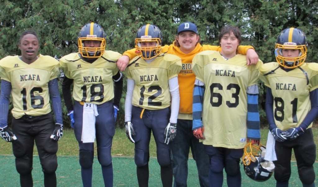 2013 Bell Warriors Pee Wee NCAFA All-Stars Pictured L to R:  Sam Roberts, Malik Yusef, Tyler Brohman, Coach Brendan Stack, Zach Statham-Souliere, James Keenan