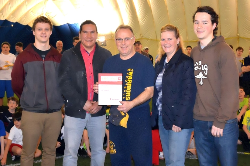 Pictured L to R:  Tim Sheahan's eldest son Kyle who played with the Warriors, Waub Rice (CBC Ottawa  & United Way Volunteer), Tim Sheahn 2015 United Way Community Builder Award winner, Ann Sheahan (Tim's fantastic wife), and Brendan Sheahan (Tim and Ann's youngest boy who also was a proud Warrior)