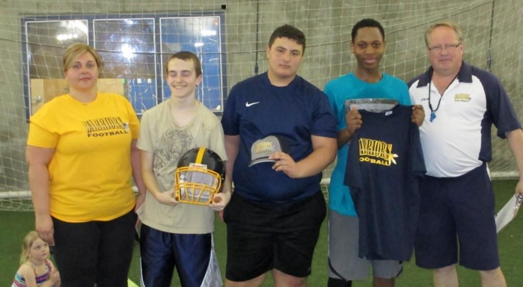 L to R  Bantam Overall Winners:  Carmen Schwartz Warriors VP, Shayne Forsythe (1st), Mathew Tarasco (2nd), Aron Masalingi (3rd) and Paul Stewart Warrior President