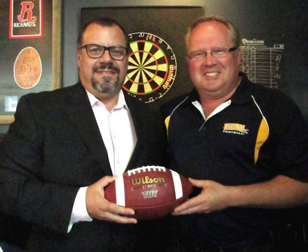 'Lend A Hand' Program and Gold Sponsor Michael Polito with Paul Stewart, Bell Warriors Football Club President