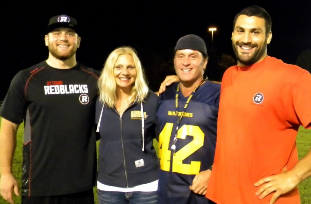 Big Zack Evans with Bantam Manager Veronica Papalia, Bantam DC Joe Papalia and NCAFA Alumni (Nepean) Ettore Lattanzia