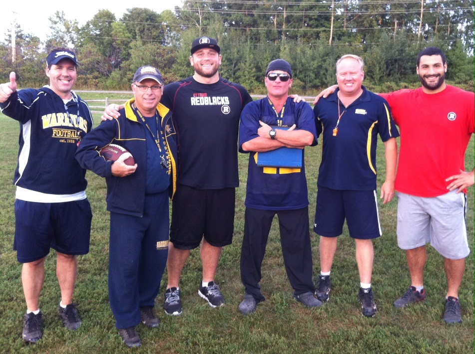 L to R: Bantam WR coach (and event organizer) Normand Fortier, Tim Sheah (Bantam OC and Club VP), Zack Evans (DL #92), Joe Papalia (Bantam DC), Paul Stewart (Bantam Head Coach) and Ettore Lattanzia (DL #49)