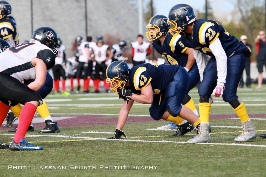 Bantams Defense is ready to go! With Keenan Broad (#42), Aaron Masalinga (#22) and Captain, Nic Simms (#59)
