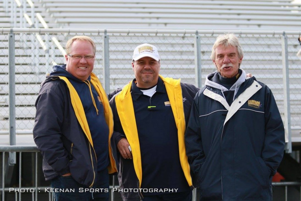 L to R: Paul Stewart (President); Mike Polito (VP); Jim Wagdin 24 year volunteer and Past-President taking in the festivities at the Warriors Inaugural Homecoming Day.
