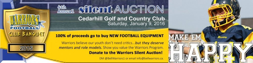 Tyke standout Avery Lavigne always has a smile when he's playing football. This takes time and effort from our many volunteers and unfortunately major fundraising efforts. Show your support. Donate to the Warriors Annual Fundraiser Silent Auctions!