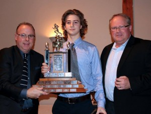 L to R: Tim Sheahan (Bantam OC); James Keenan (Bantam Most Outstanding Offensive Player); Paul Stewart (Bell Warriors President, Bantam Head Coach)