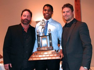 L to R: Joe Papalia (Bantam DC); Malik Yusuf (Bantam Most Outstanding Defensive Player); Jesse Card (Bantam DB Coach)
