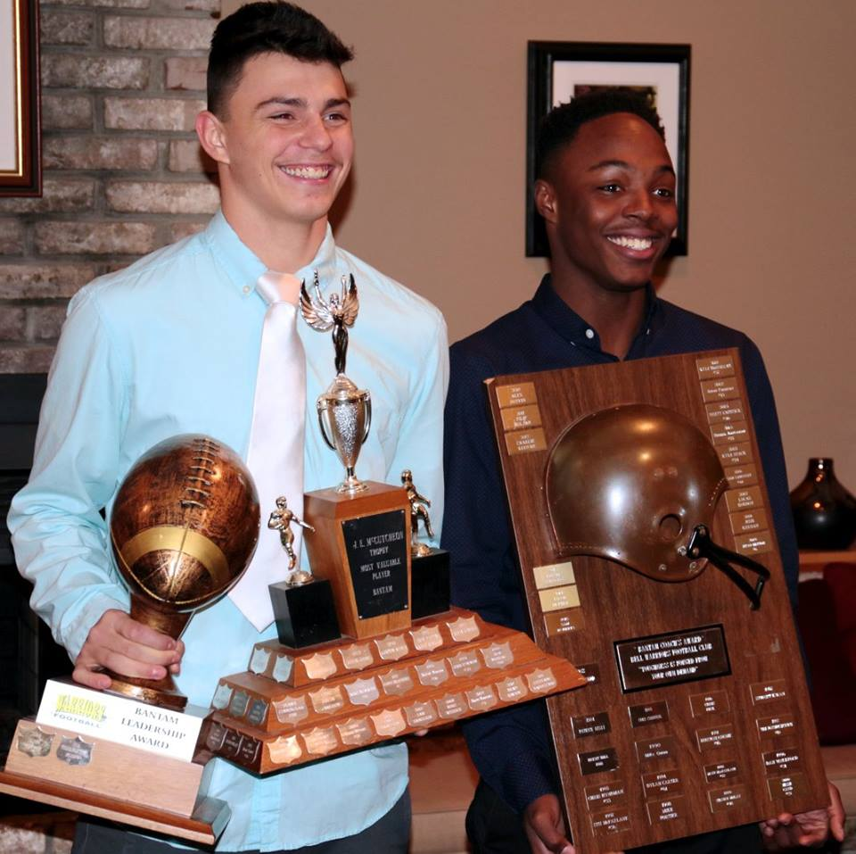 Tyler Brohman (Bantam MVP, Bantam Leadership Award winner) and Sam Roberts (Bantam Coaches' Choice Award winner)